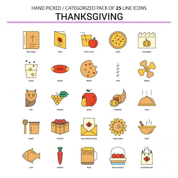 Thanksgiving flat line icon set Premium Vector