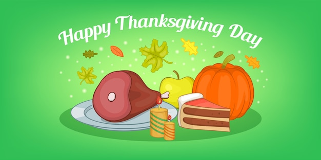 Thanksgiving food horizontal card, cartoon style Premium Vector