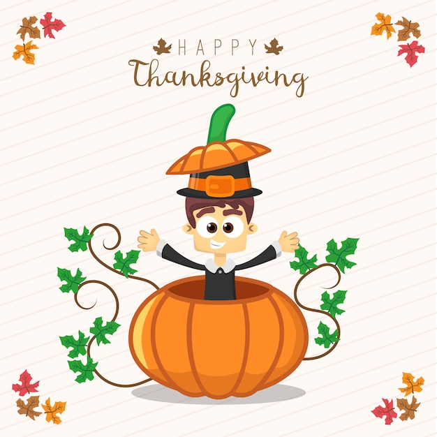 Thanksgiving greeting card with a man and pumpkin funny cartoon thanksgiving greeting card with a man and pumpkin funny cartoon character for holiday premium vector m4hsunfo
