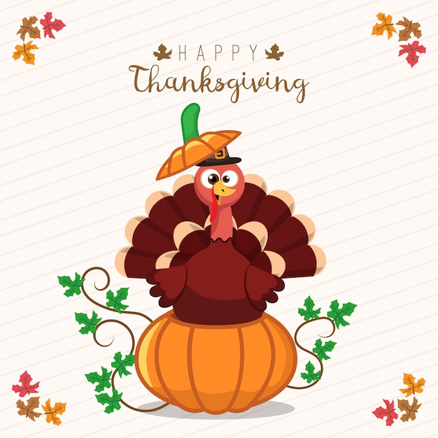 Thanksgiving greeting card with a turkey and pumpkin funny cartoon thanksgiving greeting card with a turkey and pumpkin funny cartoon character for holiday premium vector m4hsunfo