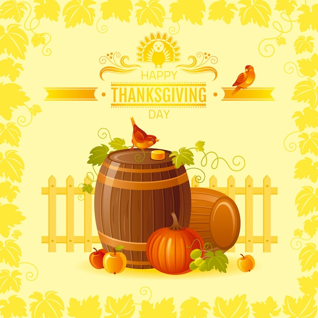 Thanksgiving greeting card with autumn barrels, grapes, birds. Premium Vector