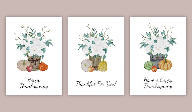 Thanksgiving greeting cards set Premium Vector
