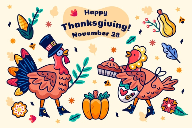 Thanksgiving hand drawn background Free Vector