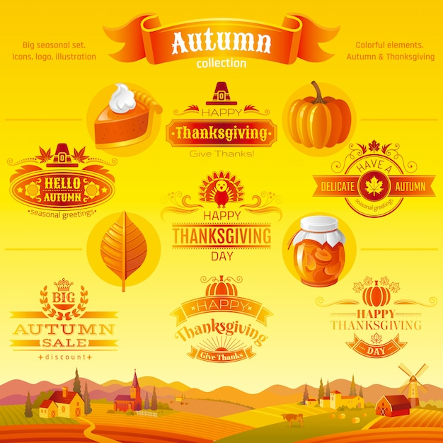 Thanksgiving icon set. logo festival cartoon icons and logo with rural landscape background. Premium Vector