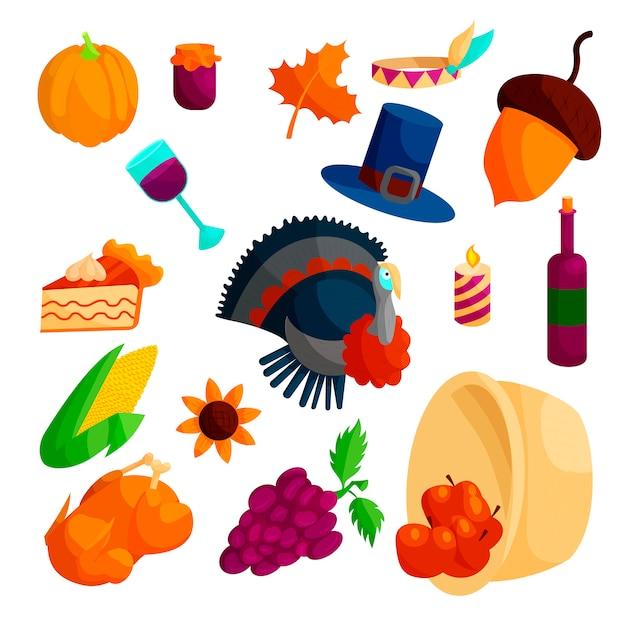 Thanksgiving icons set, cartoon style Premium Vector