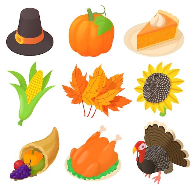 Thanksgiving icons set in cartoon style Premium Vector
