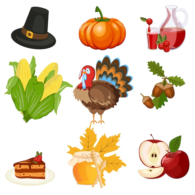 Thanksgiving icons vector set Premium Vector