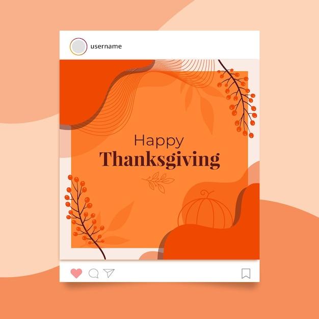 추수 감사절 instagram 게시물 템플릿 무료 벡터