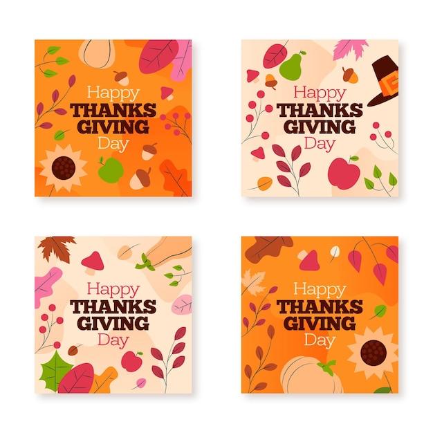 Post di instagram del ringraziamento in design piatto Vettore gratuito