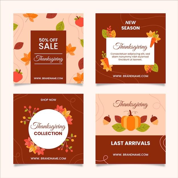 Thanksgiving instagram posts in flat design Free Vector