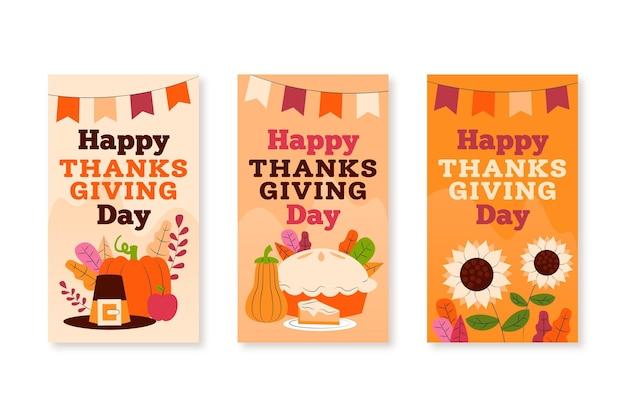 Thanksgiving instagram stories in flat design Free Vector
