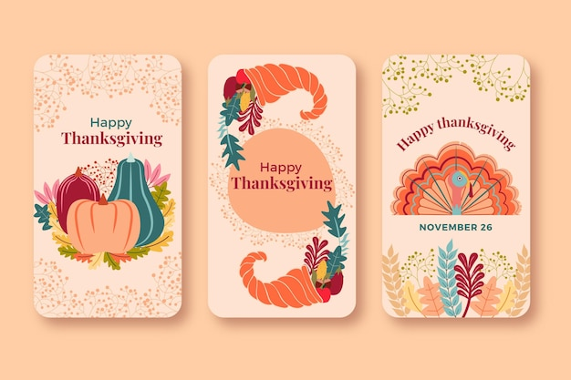 Thanksgiving instagram stories pack Free Vector