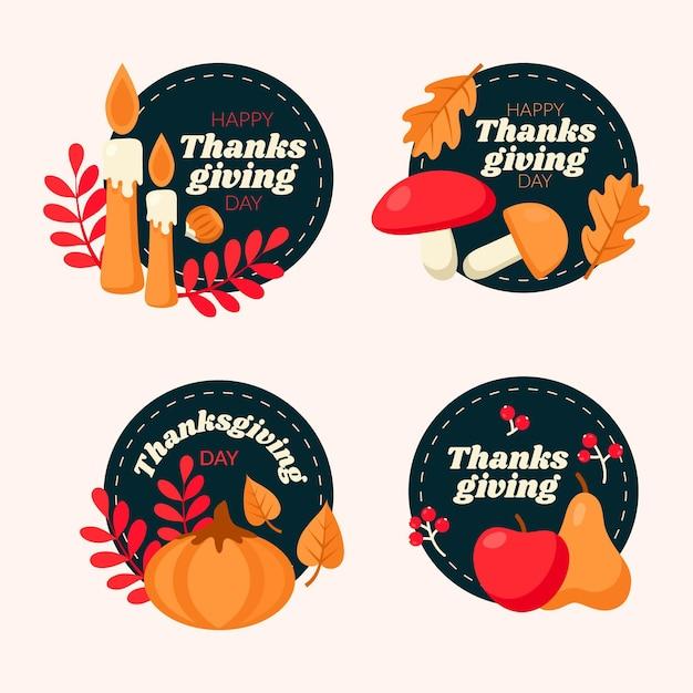 Collezione di etichette del ringraziamento in design piatto Vettore gratuito