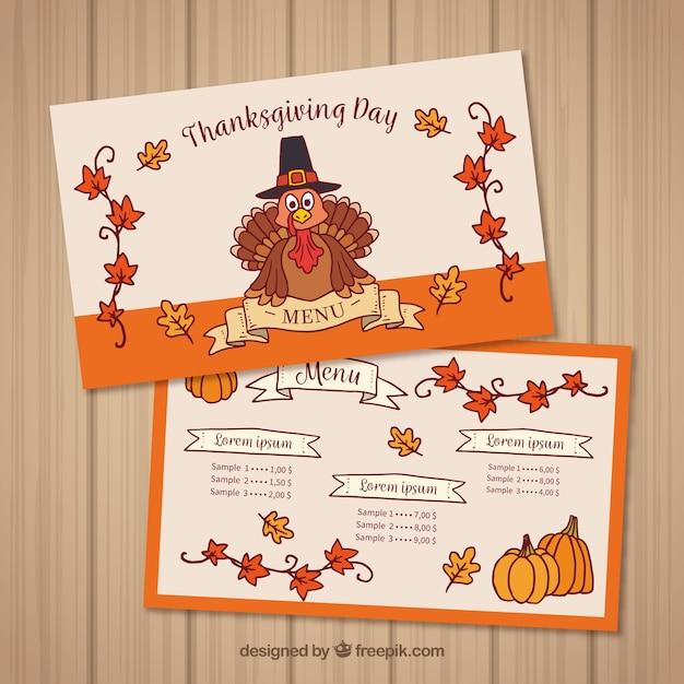 thanksgiving menu template vector free download