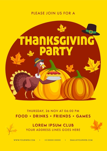 Thanksgiving party invitation, flyer design with event details in yellow and red color. Premium Vector