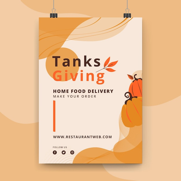 Thanksgiving poster template Free Vector