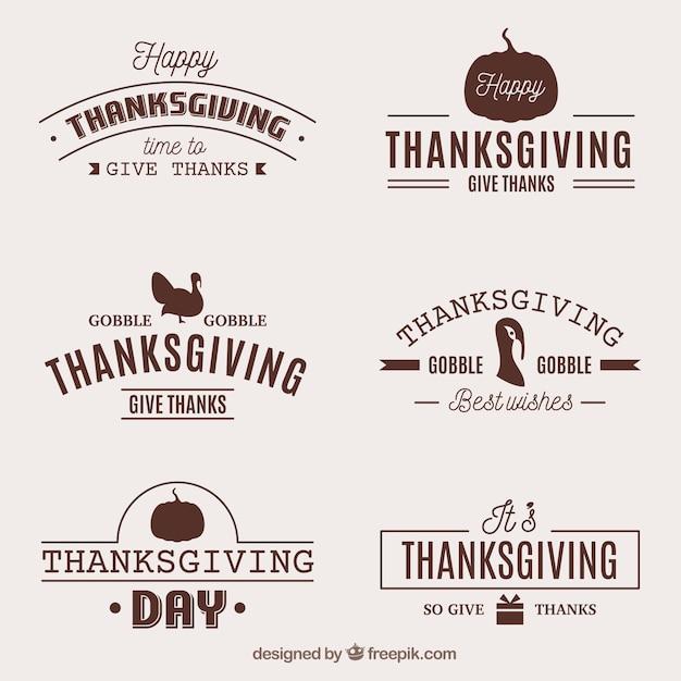 Thanksgiving retro badges set