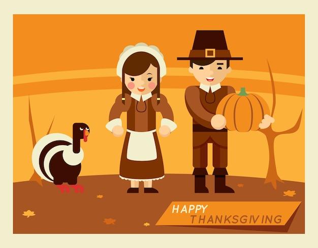 Illustrazione retrò del ringraziamento. personaggi dei cartoni animati nel mezzo del paesaggio autunnale Vettore gratuito