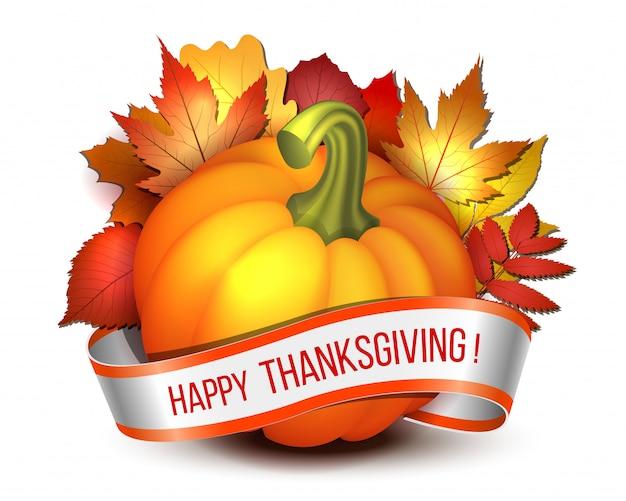 추수 감사절, 행복 한 추수 감사절 글자와 오렌지 호박과 단풍 단풍 잎 리본. 추수 감사절 파티 포스터 또는 브로셔. . 프리미엄 벡터