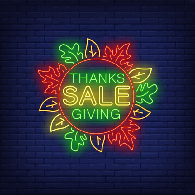 Thanksgiving sale in neon style Free Vector