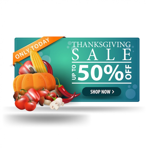 Thanksgiving sale, up to 50% off, horizontal 3d web banner with autumn harvest. Premium Vector