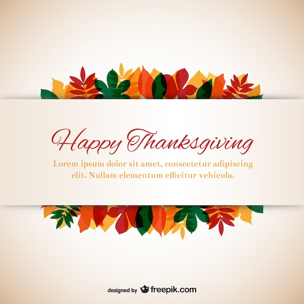 Thanksgiving Template With Leaves Vector Free Download