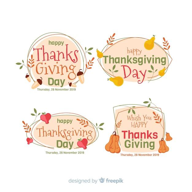 Тема благодарения для коллекции этикеток Бесплатные векторы