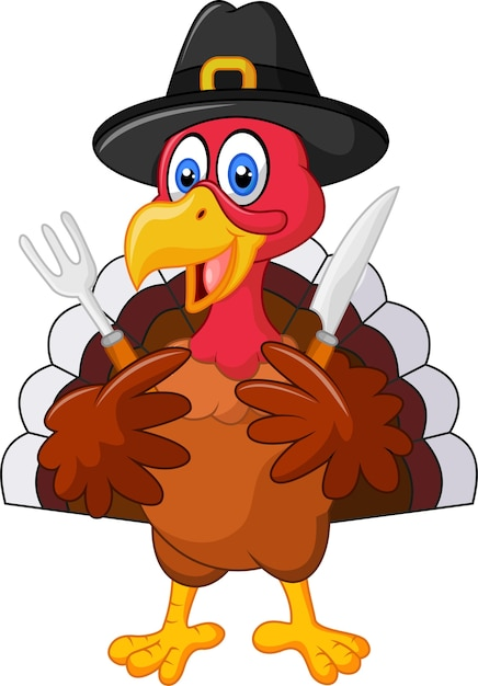 Thanksgiving turkey mascot holding knife and fork Premium Vector