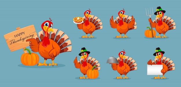 Thanksgiving turkey, set of seven poses Premium Vector