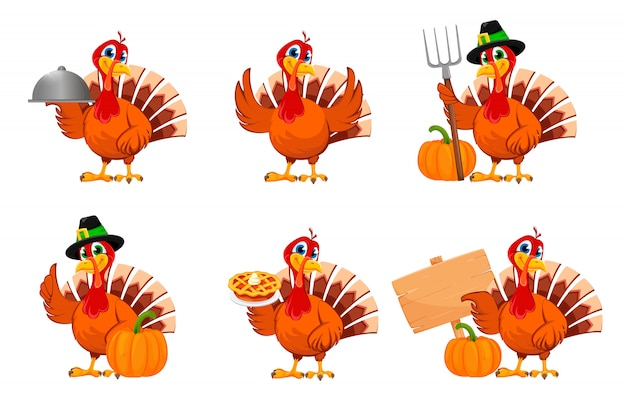 Thanksgiving turkey, set of six poses Premium Vector