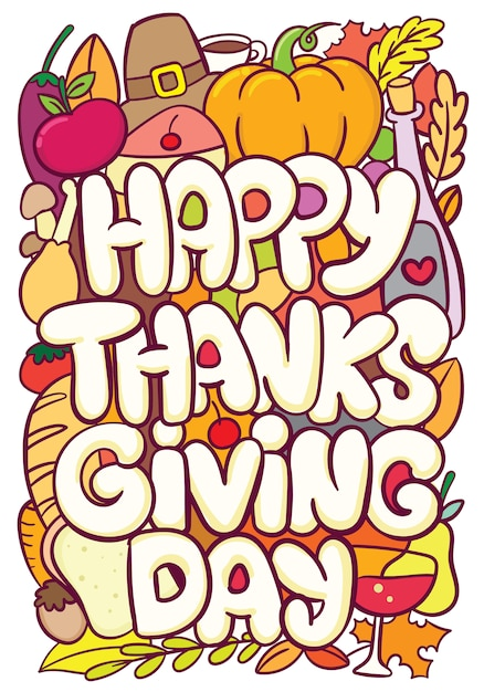 Thanksgiving typography with cute doodle art Premium Vector
