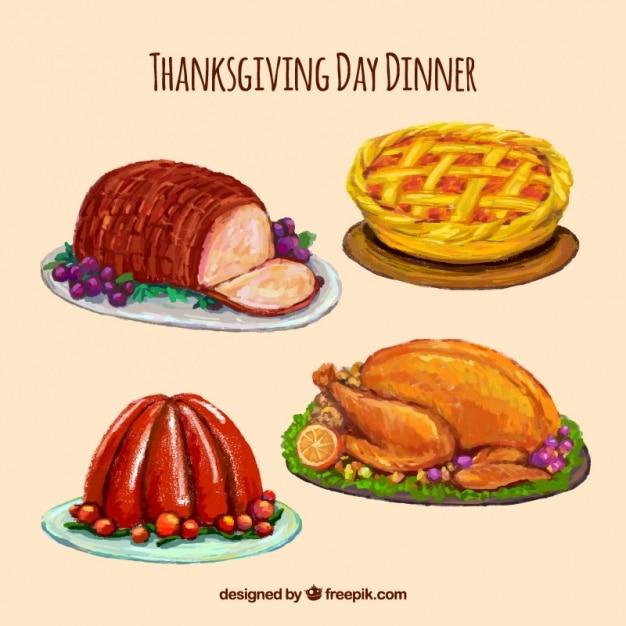 Thanksgiving watercolor delicious food set