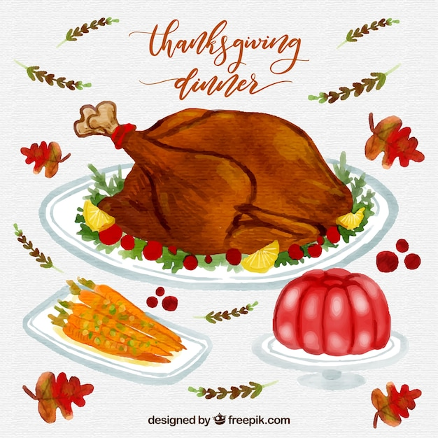 Thanksgiving watercolor dinner pack
