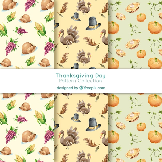 Thanksgiving watercolor patterns set