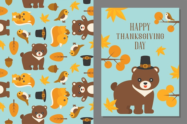 Thanksgiving wild animal seamless pattern and greeting card template in flat design Premium Vector