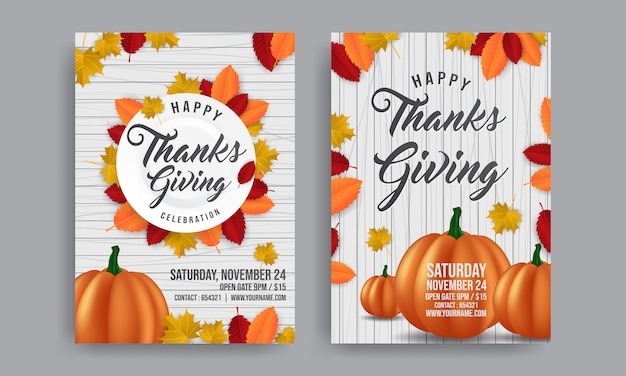 thanksgiving with orange pumpkin for promo poster template flyer