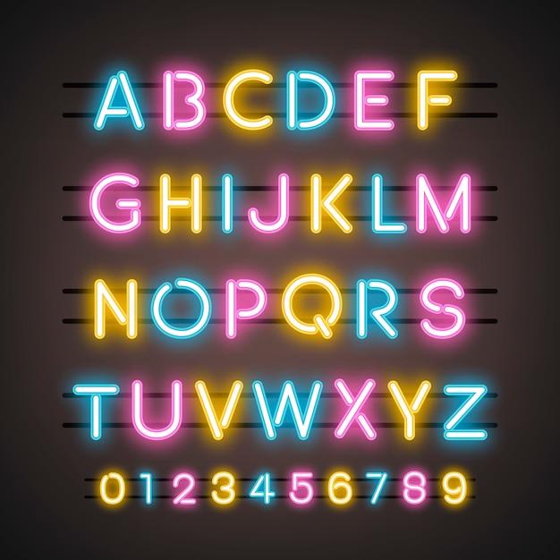 アルファベットと数字のシステム 無料ベクター