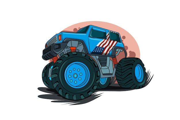 アメリカのモンスタートラックのイラスト Premiumベクター