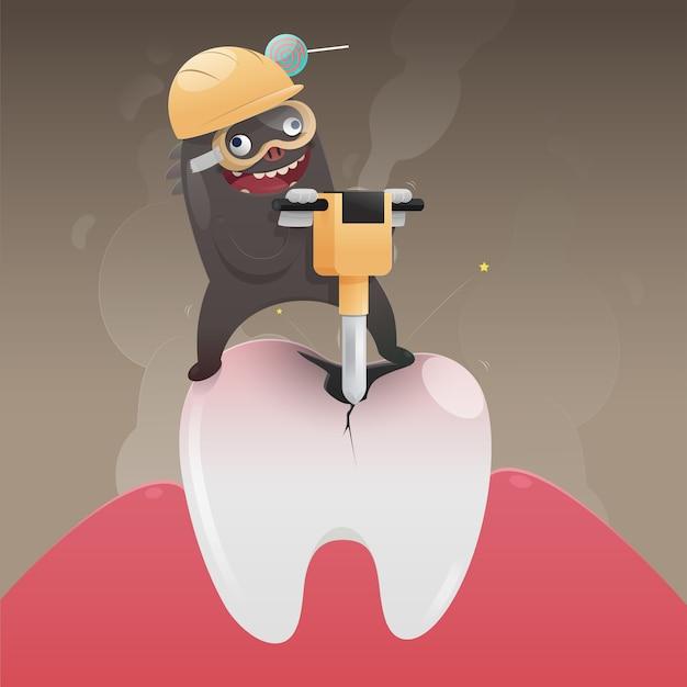 Плохой монстр копает и повреждает зуб, мультфильм вектор, концепция со здоровьем зуба Premium векторы