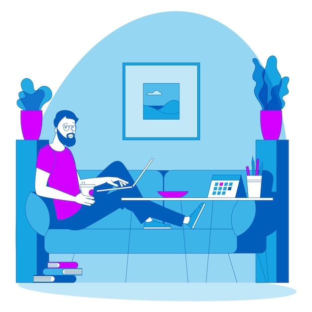 リモートでの作業に最適な場所。若い男はソファに座って外注しています。緯度設計図、webサイト、プレゼンテーション、モバイルアプリのアニメーションコンセプトの準備ができて。 Premiumベクター