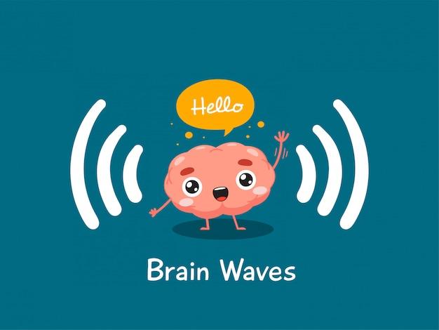 Мозг машет рукой. изолированных иллюстрация Premium векторы