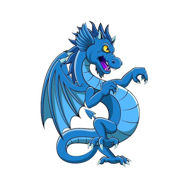 Мультфильм синего дракона с хорошей цветной иллюстрацией Premium векторы