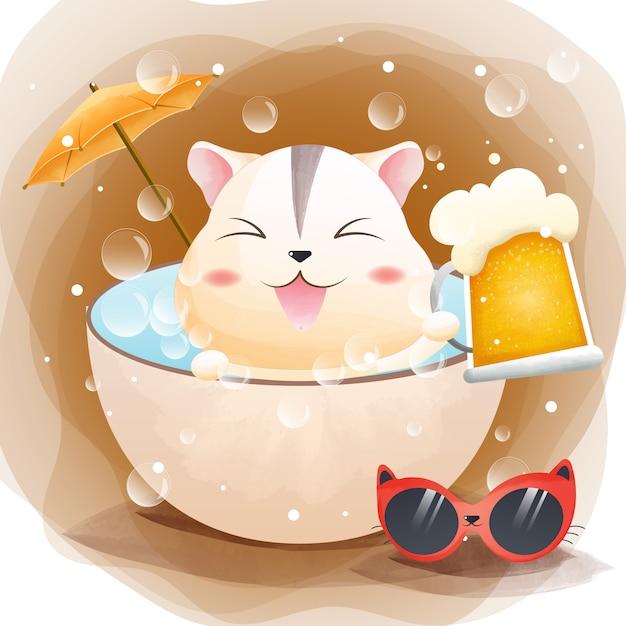 Характер милый хомяк и разливное пиво в ванной, летнее акварель стиль. Premium векторы