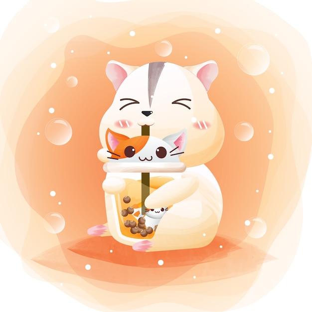 Персонаж милого хомячка с жемчужным чайным котом. Premium векторы