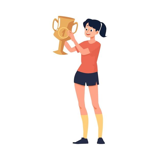スポーツ大会や選手権で最初になった少女や若い女性の性格 Premiumベクター