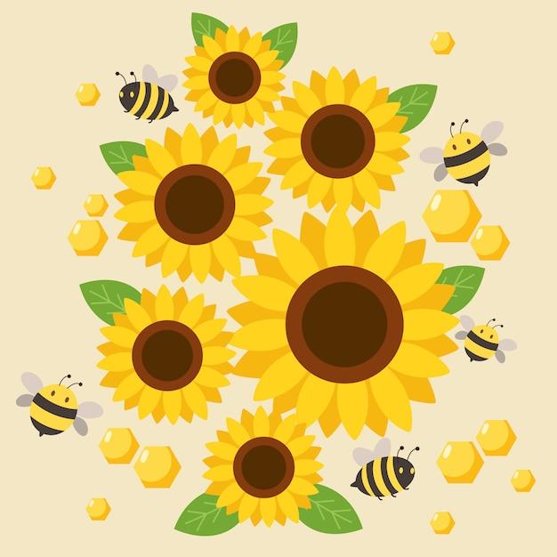 Персонаж милой пчелы, летящей вокруг подсолнуха на желтом Premium векторы