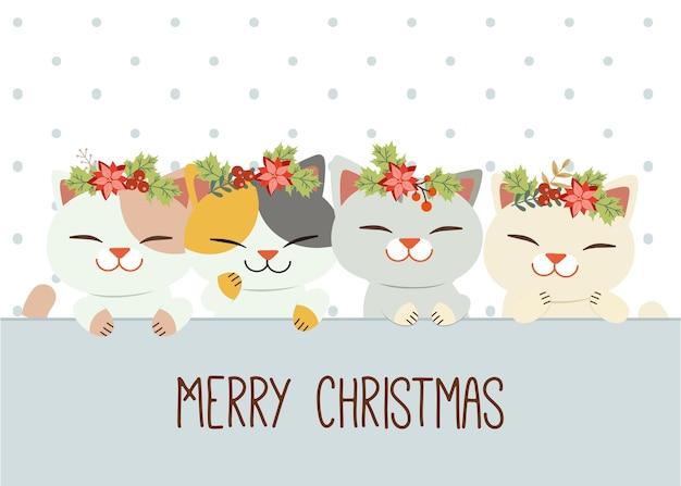 귀여운 고양이의 캐릭터는 왕관처럼 크리스마스 화환을 착용합니다. 프리미엄 벡터