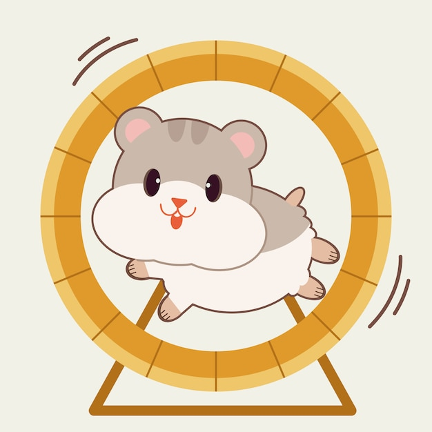 Персонаж милого хомяка, бегущего с колесом крысы Premium векторы