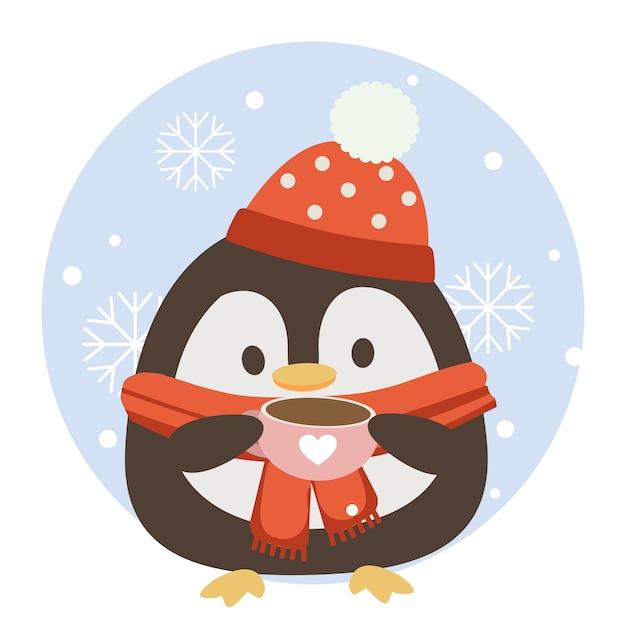 サークルブルーの背景とスノーフレークとピンクのコーヒーカップを保持しているかわいいペンギンのキャラクター。 Premiumベクター
