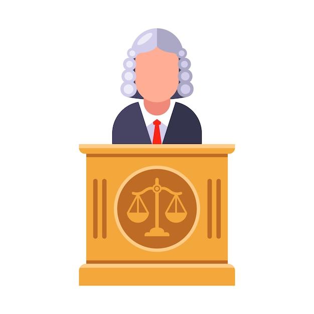 法廷の最高裁判官が判決を言います。フラットキャライラスト。 Premiumベクター